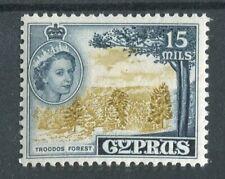 Cyprus QEII 1955-60 15m bistre & indigo SG177a MNH