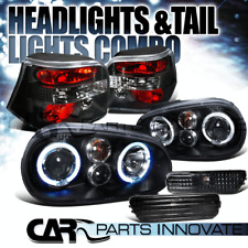 For 99-05 Golf Black Halo Projector Headlights+Clear Bumper Lamp+Tail Light