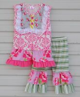NEW Boutique Girls Pink Floral Tunic & Green Ruffle Leggings Outfit Set