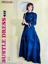Victorian Bustle Dress 2 Pc Navy Blue Poly Satin 1890's Period Costume