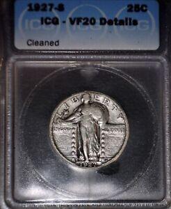 1927-S Standing Liberty Quarter ICG VF20, Beautiful  Key  Date !