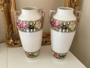 "DC Ware Made In England Pair Of Vintage Floral Vase 12 "" tall Art Deco"