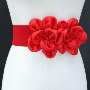 Faddish Women Elastic Waist Belt Chiffon Flower Decor Corset Waistband 6cm Width