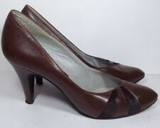 Nickels Brown Leather Women's Italian Italy Classic Pumps Heels Sz 8 Narrow
