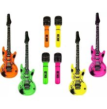 4x Inflatable Microphone 4x Guitars Music Instrument Rockstar Fancy Dress Party