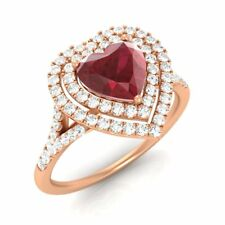 1.37 CT SOLID 14K ROSE GOLD STUNNING HEART-CUT NATURAL RUBY & G/SI DIAMOND RING
