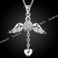 Angel wings Necklace Heart Pendant Silver Diamond Gift for Her Women Wife Mum C3