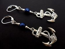 A PAIR TIBETAN SILVER DANGLY SHIPS ANCHOR  BLUE BEAD LEVERBACK HOOK  EARRINGS.