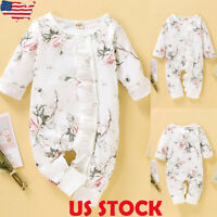 Newborn Baby Girl's Floral Romper Jumpsuit Bodysuit Playsuits Clothes Outfits US