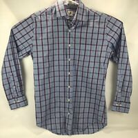 Peter Millar Mens Dress Shirt Button Down Blue With Purple Stipes Size Medium