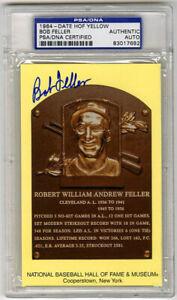 Bob Feller SIGNED Baseball Hall of Fame Plaque HOF Indians PSA/DNA AUTOGRAPHED