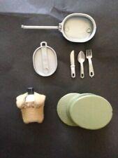 Vintage Action Man accessories. Fatigue cap, mess tin set and canteen.