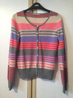 M&S Ladies Grey, Pink, Blue & Cream Striped Pure Cashmere Cardigan Size 8 VGC