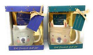 Hot Chocolate and Marshmallow Cute Animal Mug Gift Set Easter Kids Present