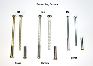 M3 M4 Connecting Screws and Sleeves. Fixings for Handles Roses Knobs Escutcheon