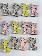 10 pcs Mixed Cat Painted Wooden decorative Buttons For Sewing Scrapbooking (252)