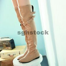 New Womens Faux Leather Flat Low Heels Belt Buckle Over The Knee Boot Shoes Size