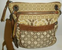Fossil Cream Brown & Yellow Floral Abstract Canvas Brown Leather Crossbody Bag