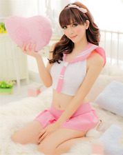 Pink School Girl Cosplay Anime Costume Students Sailor Lingerie Uniform