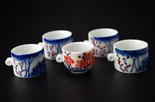 Hand Painted Blue & White Porcelain Bamboo Bird Cage Feeder Seed Water Bowls Cup