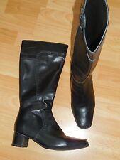 Vintage Bottes cuir noir, 90 Style, bout talon carré, SS