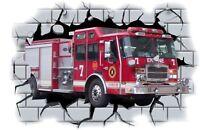 Huge 3D Fire Engine Crashing through wall View Wall Sticker Mural Decal Film 30