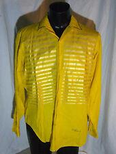 Rare Vtg Ronald Jackson Artist Designer Yellow and Gold Striped Mens Shirt Sz 16