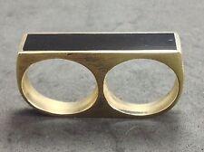 Mens Custom Two Finger Black Gold Minimalist Retro Statement Double Bar Ring 11