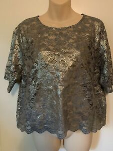 New Look Gold Foil Lace Top Size UK 16 New With Tags