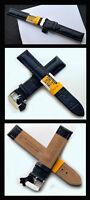 CAVADINI Echt Leder Uhrenarmband 22mm, Kroko-Prägung blau, Stahl Schliesse