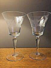 Two Vintage Etched Design Crystal Stemmed Fluted Wine Glasses