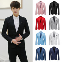 Business Men's Slim Fit One Button Suit Blazer Wedding Party Coat Jacket Tops