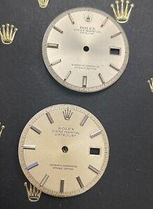 Rolex 36mm Datejust Silver  Dial Stick Jubilee Oyster Pie Pan  1601 1603 (LOT)