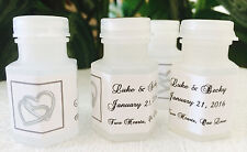 120 SILVER HEARTS Personalized BUBBLE labels/stickers for WEDDING PARTY FAVORS