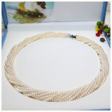 "18"" Gorgeous 12 strands AAA+ 3-4mm real natural south sea white pearl necklace"