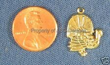 50pc Gold Plated Harvest Thanksgiven Turkey Charms 6201