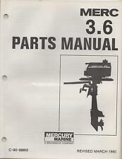 MARCH 1980 MERCURY OUTBOARD MERC 3.6  C-90-88912 PARTS MANUAL  (803)