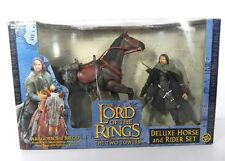 LOTR THE TWO TOWERS  ARAGORN and BREGO DELUXE HORSE AND RIDER SET 2003 NIB