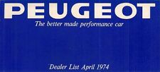 Peugeot Dealer List 1974 UK Market Foldout Brochure