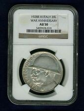 ITALY 1928-R YR. VI 20 LIRE SILVER COIN, ALMOST UNCIRCULATED, NGC CERTIFIED AU50