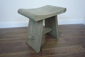 French Farmhouse Style Wooden Milking Stool - Hand Carved Solid Wood Stool