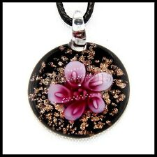 Fashion Women's round lampwork Murano art glass beaded pendant necklace #A186