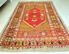"""Antique Pre-1900s Muted Dyes,Wool Pile 3'7""""×5'5"""" Kirsehir  Rug For Collector"""