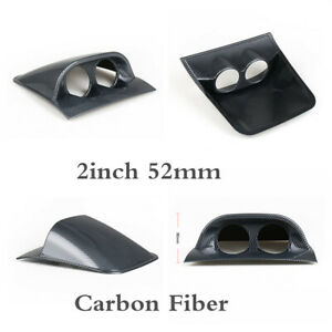 2In Carbon Fiber Color Dual Hole Guage Mount Holder For Auto Car Meter Dashboard