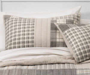 2 Threshold Flannel Patchwork Pillow Shams Gray Tan New Pair