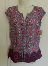 New Women GH Bass & Co Cap Sleeve Multicolor Casual Work Top Blouse Size S $66
