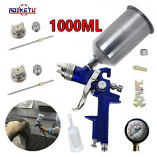 New Hvlp Spray Paint Gun Kit With Regulator 14mm Amp 20mm Nozzles Amp1000ml Cup