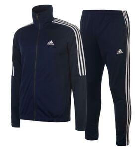 Adidas 3 Stripe Herren Trainingsanzug Tracksuit Jogginganzug Navy Blau Sport Neu