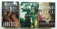 Trio OF 3 ANNE RICE hardcover 1st/1st novels MEMNOCH + VAMPIRE ARMAND + MERRICK