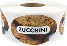 Zucchini Grocery Market Food Stickers, 1.25 x 2 Inches, 500 Labels on a Roll